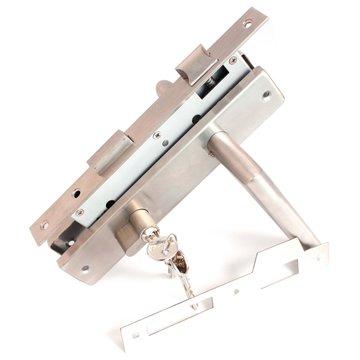 deurslot-set PC85, RVS kruk/schild recht, voor- en sluitplaat RVS