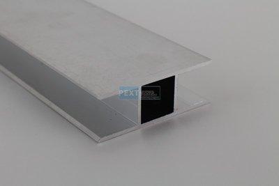 H-profiel voor 16 mm plaat, koker 20x20 met dubbele flens